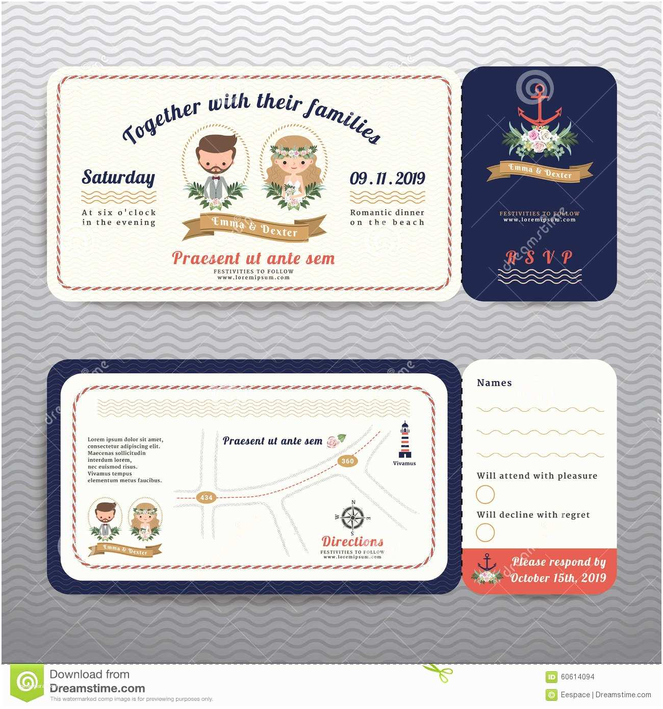 Hipster Wedding Invitations Nautical Ticket Hipster Bride and Groom Wedding Invitation