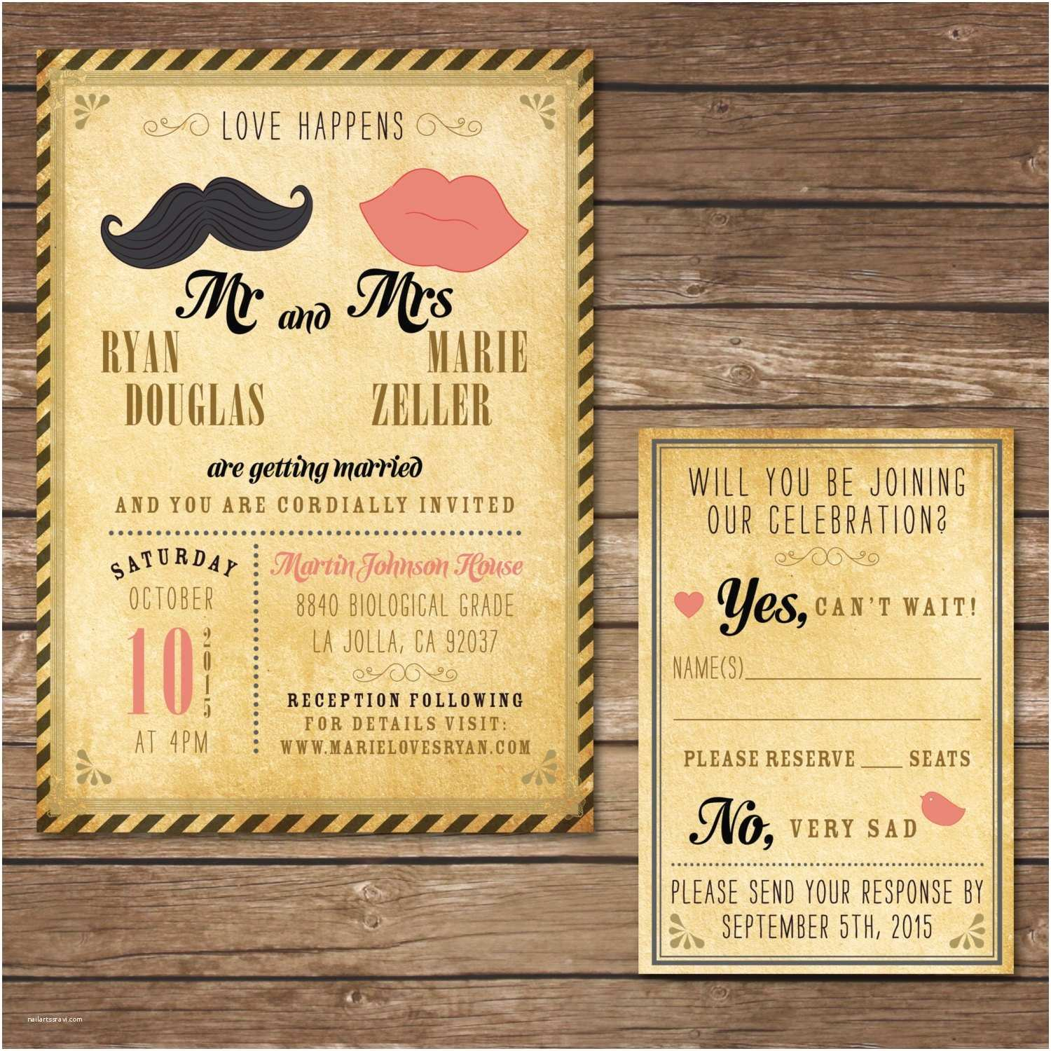 Hipster Wedding Invitations Printable Hipster Wedding Invitation with Rsvp Card Digital
