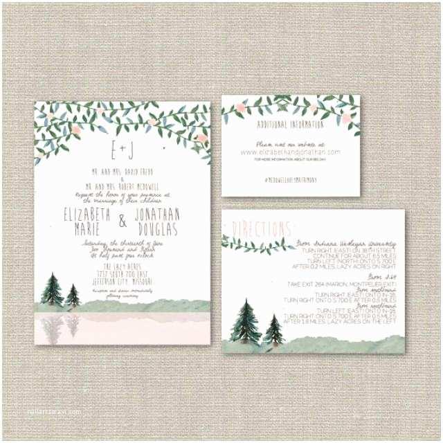 Hipster Wedding Invitations Wedding Invitation Suite Deposit Diy Rustic Woodland