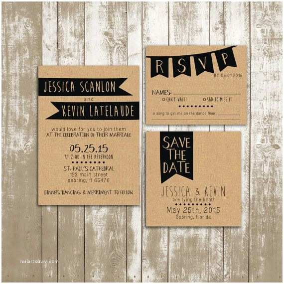 Hipster Wedding Invitations Wedding Invitation Suite Shabby Chic Kraft Paper