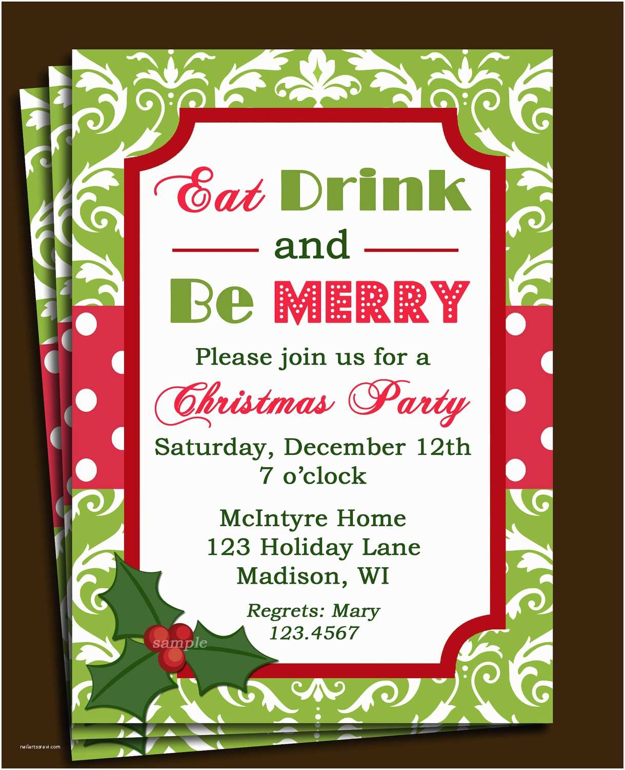 Holiday Party Invitation Christmas Party Invitation Printable or Printed with Free