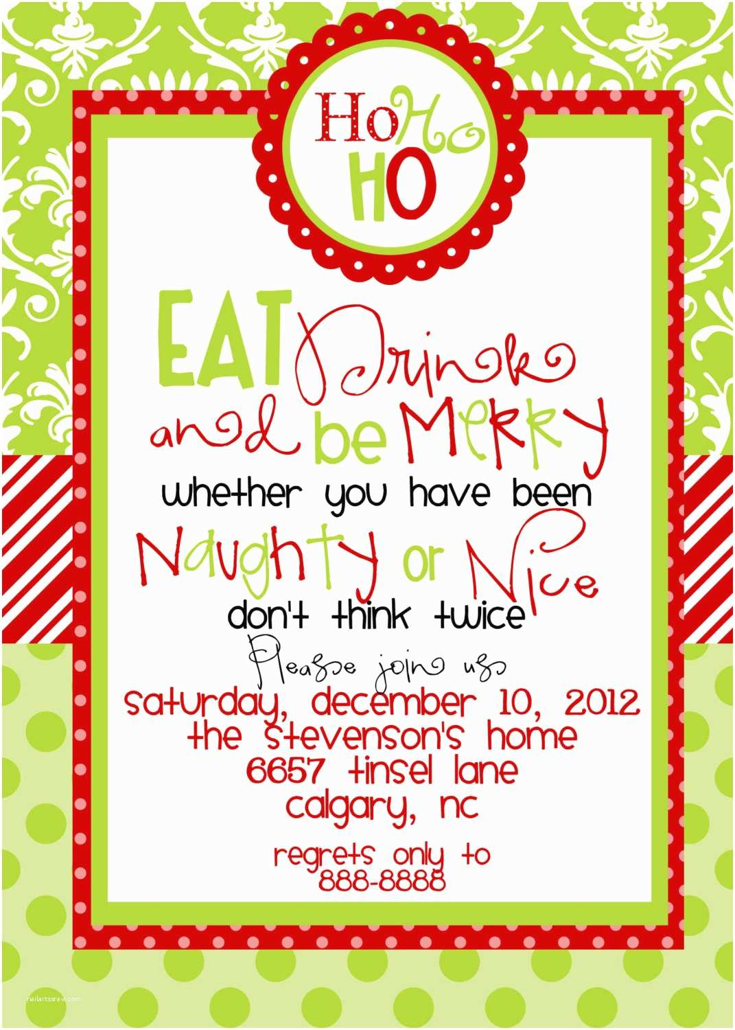 Holiday Party Invitation Template Custom Designed Christmas Party Invitations Eat Drink and