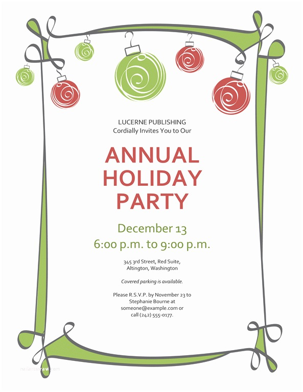 Holiday Party Invitation Template Free Free Printable Christmas Invitations Template