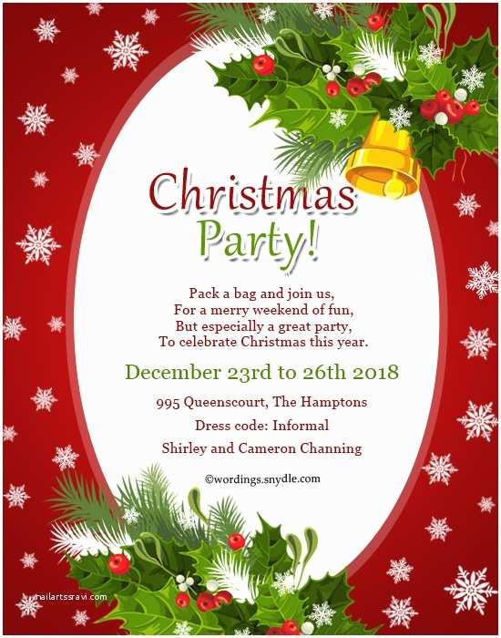 Holiday Party Invitation Wording Christmas Party Invitation Wordings Wordings and Messages