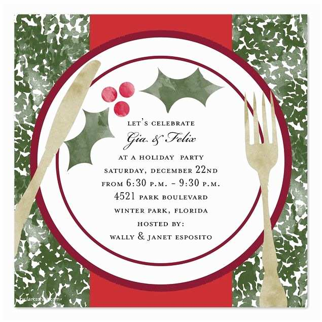 Holiday Party Invitation Wording Examples Christmas Dinner Invitation Template Free
