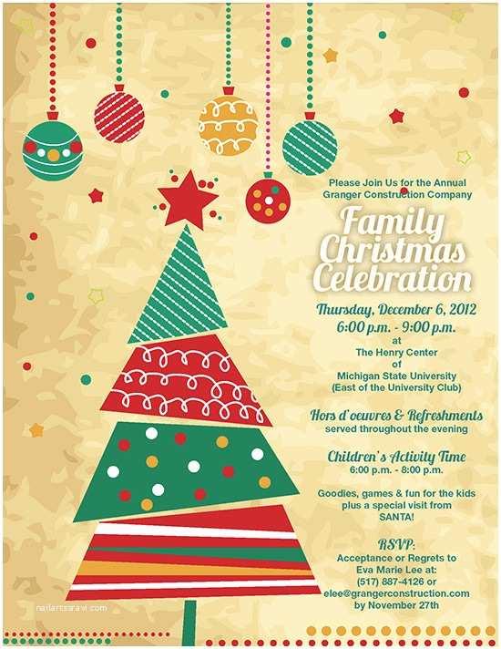 Holiday Party Invitation Wording Examples Christmas Invitation Templates