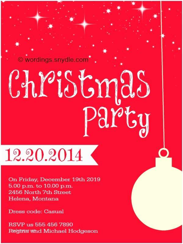 Holiday Party Invitation Wording Examples Christmas Party Invitation Wordings Wordings and Messages