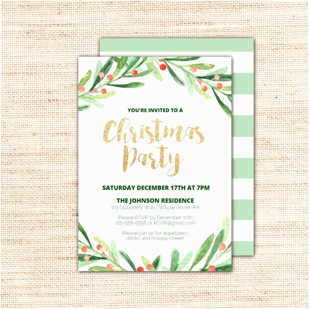Holiday Party Invitations Templates Holly Wreath Printable Christmas Party Invitation Template