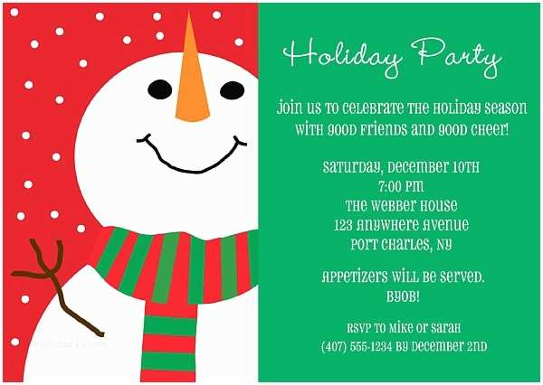 Holiday Party Invite Snowman Holiday Christmas Party Invitations