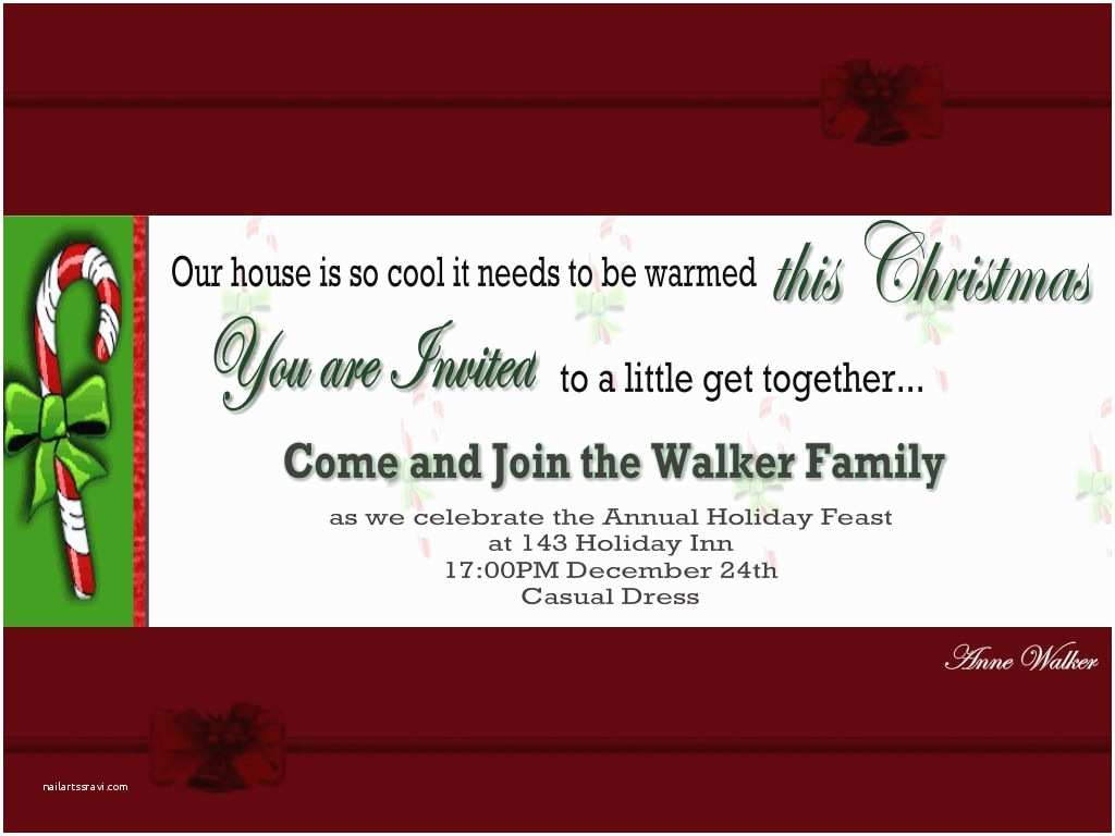Holiday Party Invite Wording Christmas Holiday Party and Dinner Invitation Card Design