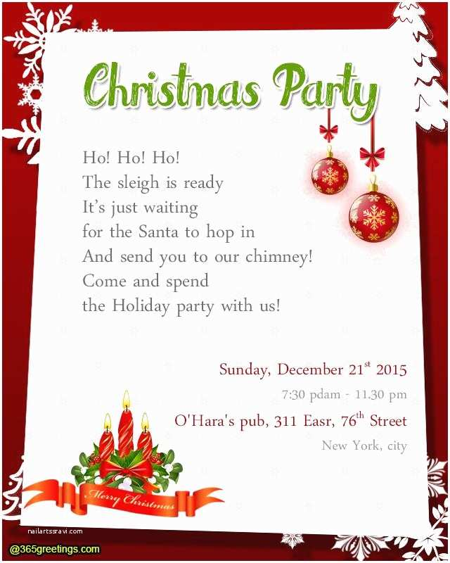 Holiday Party Invite Wording Christmas Party Invite Message
