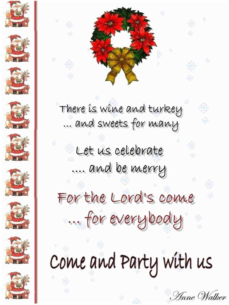 Holiday Party Invite Wording Funny Christmas Invitation Poems
