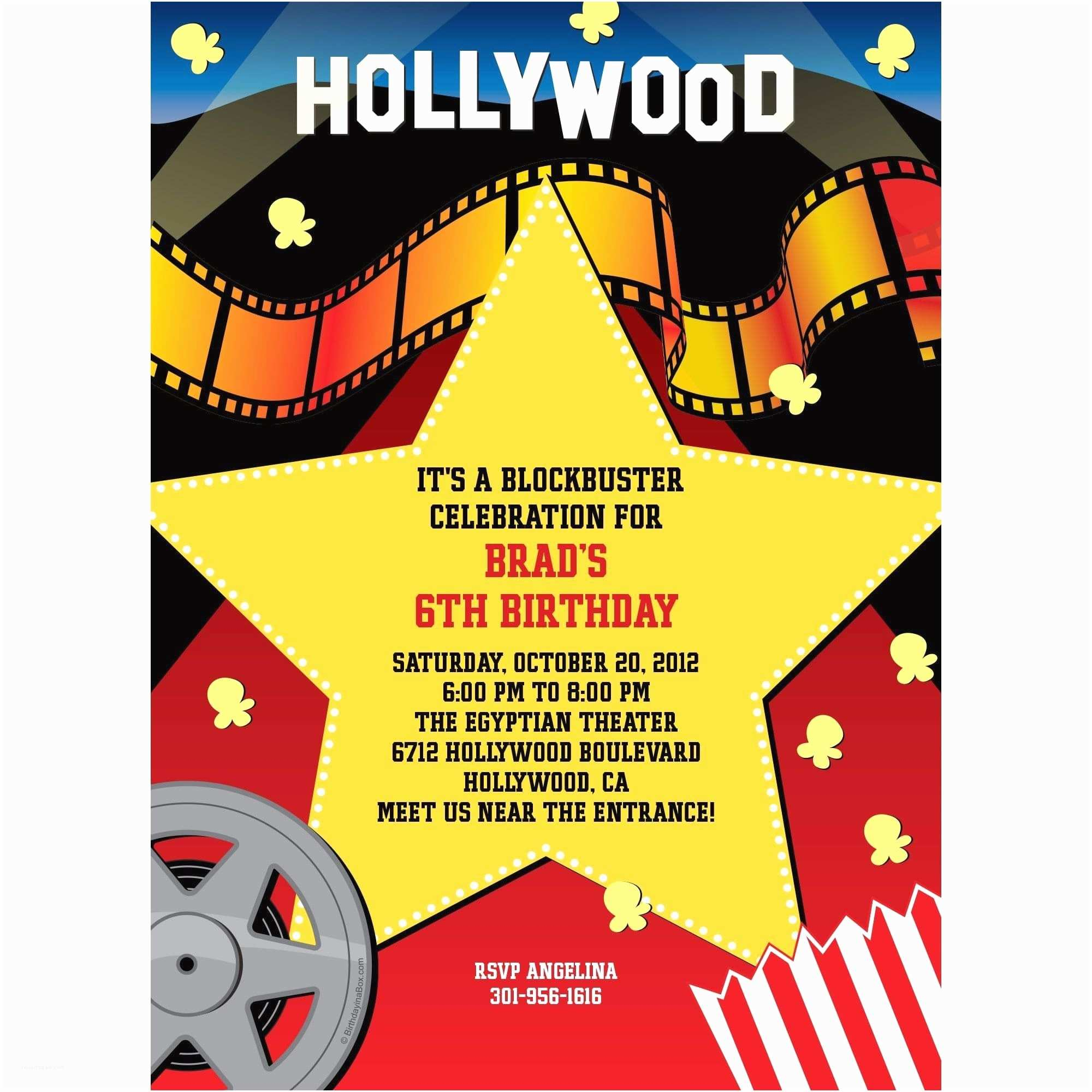 Hollywood Party Invitations Hollywood Invitation Custom Invitations & Party Supplies