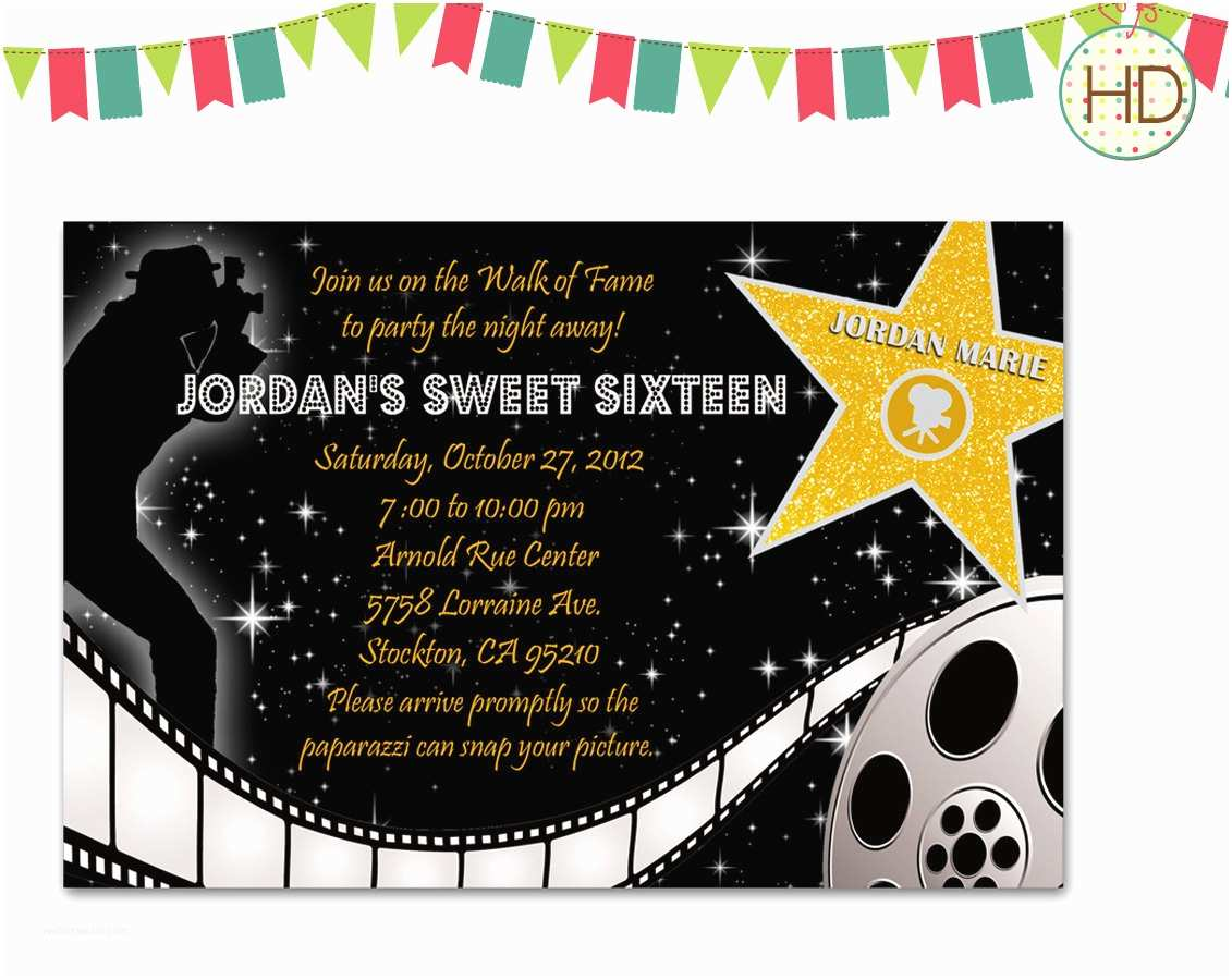 Hollywood Party Invitations Hollywood Star Movie Strip Red Carpet by Hdinvitations