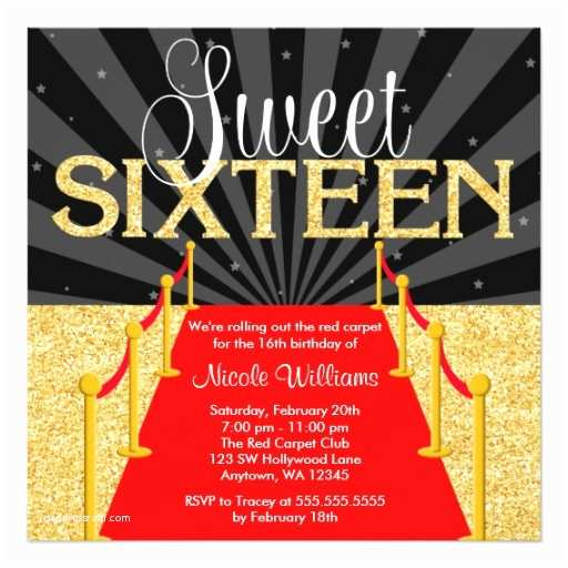 Hollywood Party Invitations Red Carpet Gold Glam Hollywood Sweet 16 Birthday