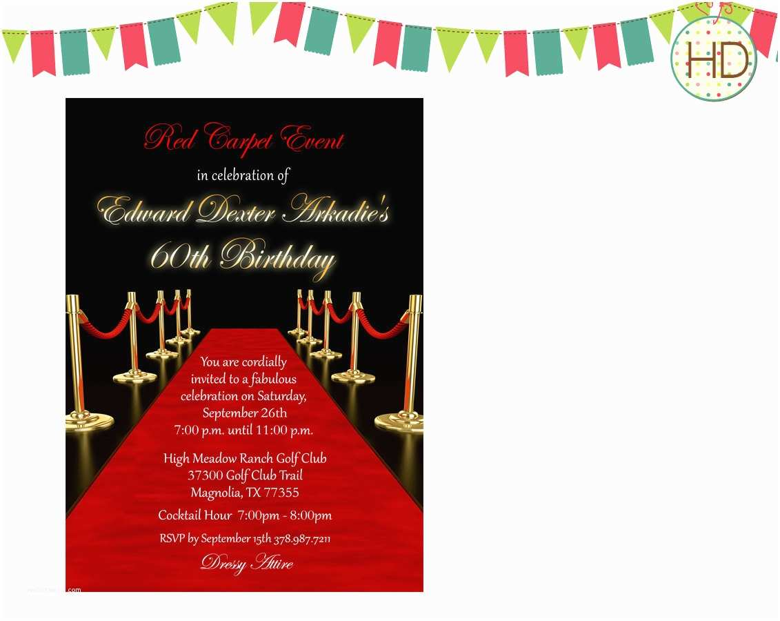 Hollywood Party Invitations Red Carpet Invitation Hollywood Party Red Carpet by