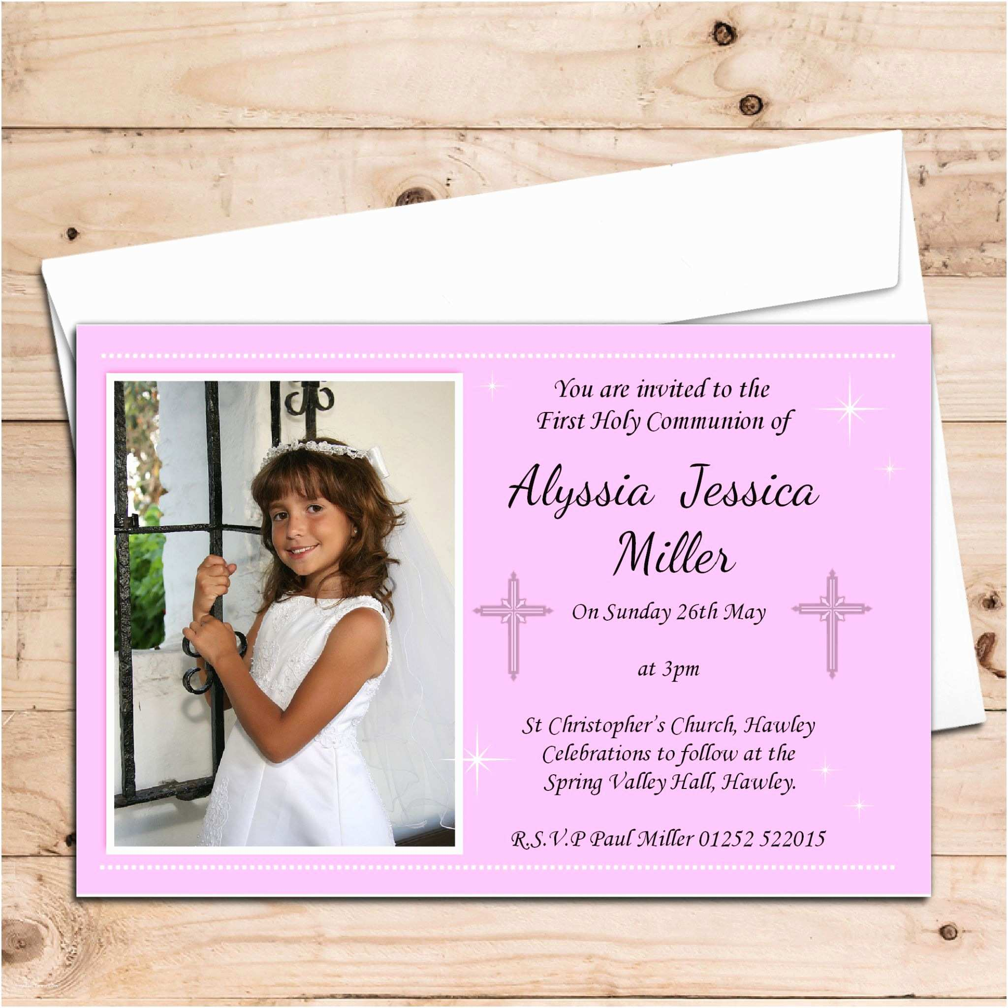 Holy Communion Invitations 10 Personalised Girls 1st First Holy Munion Photo