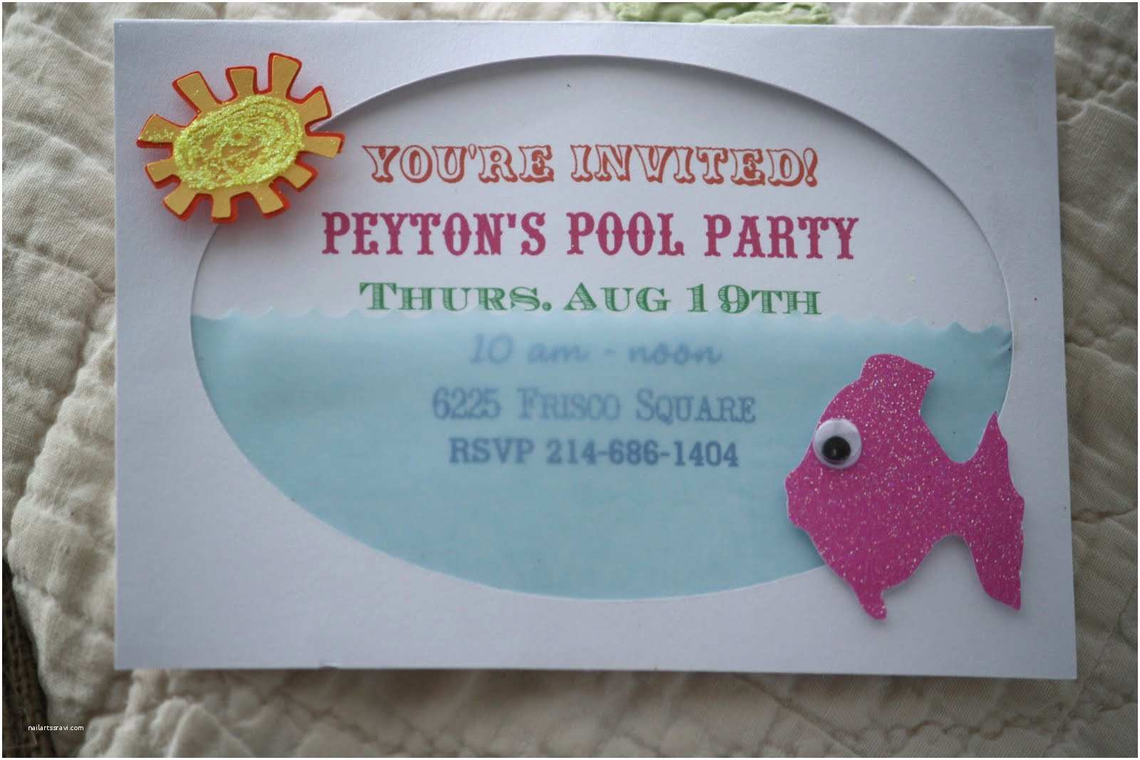 Homemade Birthday Invitations Pool Party Invite From Jami At The Blackberry Vine