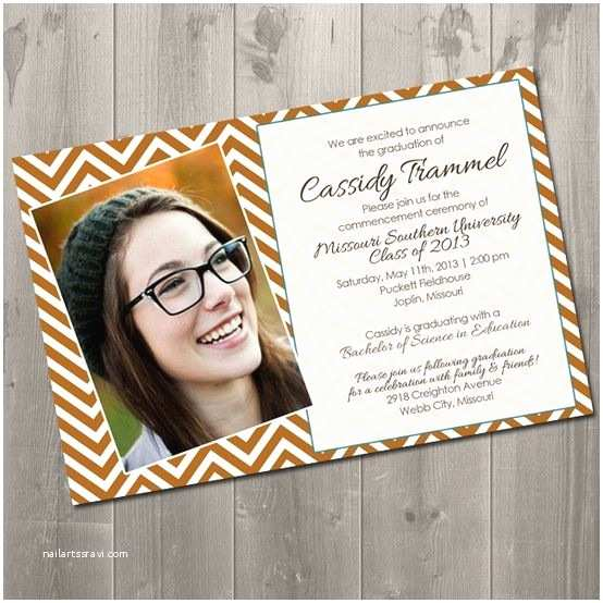 Homemade Graduation Invitations Chevron Graduation