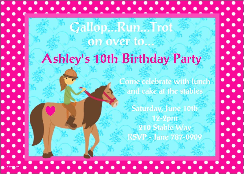 Horse Birthday Invitations Cowgirl Birthday Invitation Printable or Printed Horseback