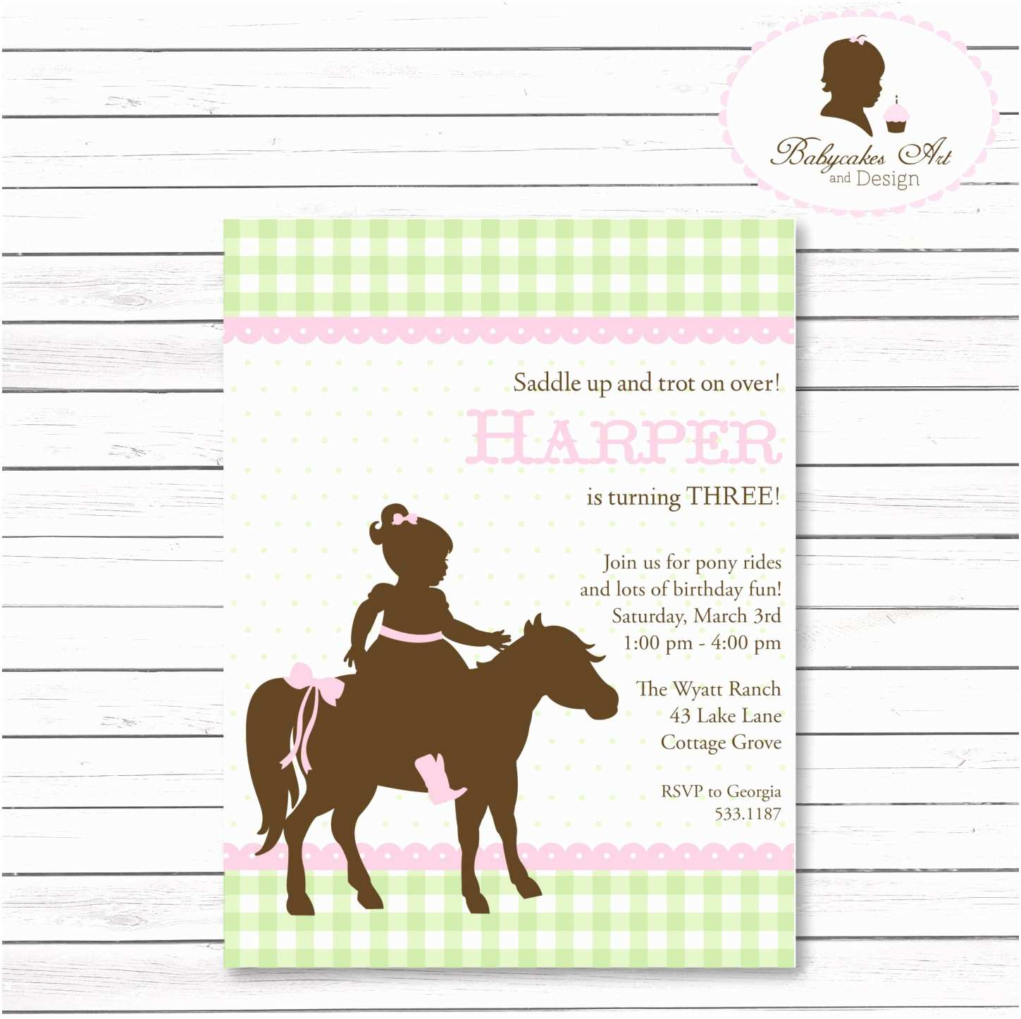 pony party birthday invitation horse
