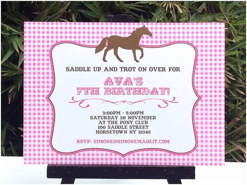 Horse Birthday Invitations Horse Birthday Party Printable Templates