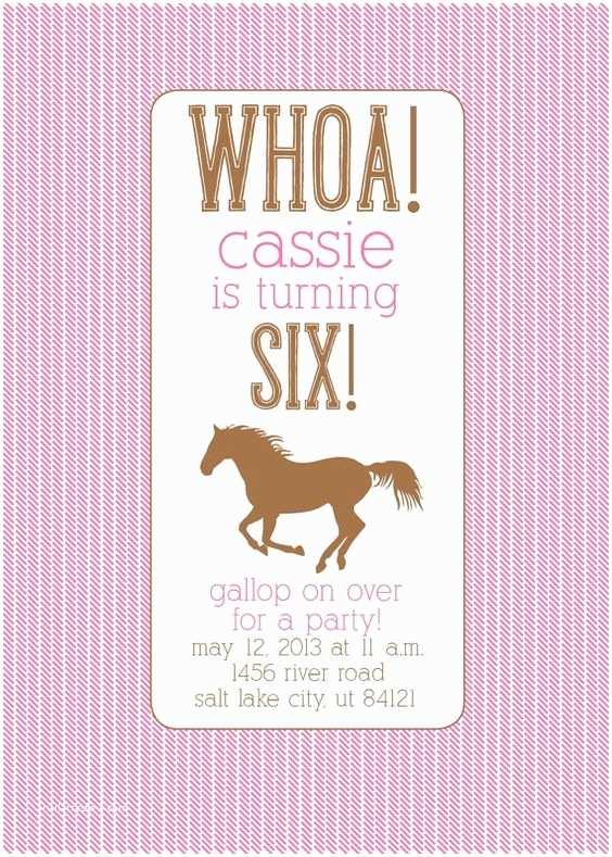 Horse Birthday Invitations Party Custom And Horses On