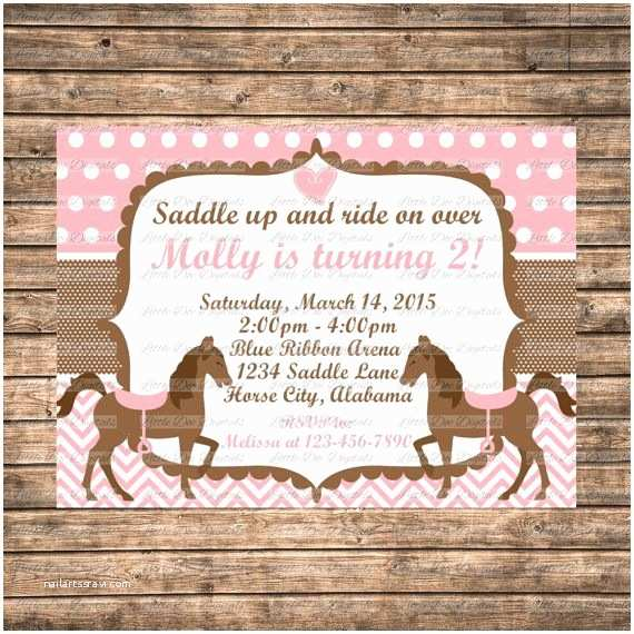 Horse Birthday Invitations Personalized Pink and Brown Horse themed Birthday Party