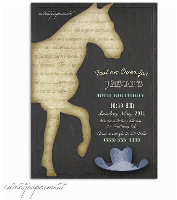Horse Birthday Invitations Vintage Horse Boy Birthday and Boy Birthday Invitations