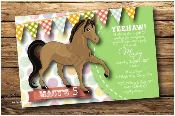 Horse Birthday Party Invitations Cowgirl Theme Birthday Party Invitation Horse By