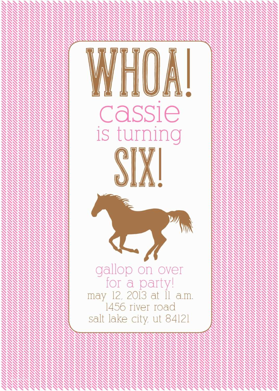 custom birthday invitation horse party