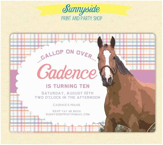 Horse Birthday Party Invitations Girls Horse Birthday Party Invitation by Sunnysideprintparty