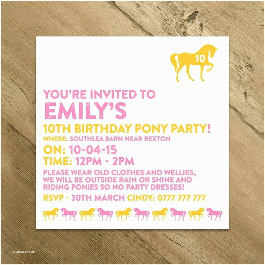 Horse Birthday Party Invitations Horse and Pony Party Invitations by A is for Alphabet