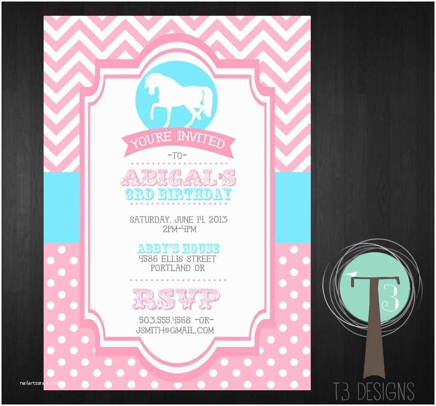 Horse Birthday Party Invitations Horse Birthday Invitation Pony Birthday Invitation