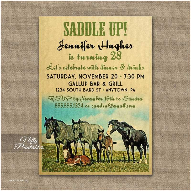 Horse Birthday Party Invitations Horse Birthday Invitations Printable Equestrian Birthday