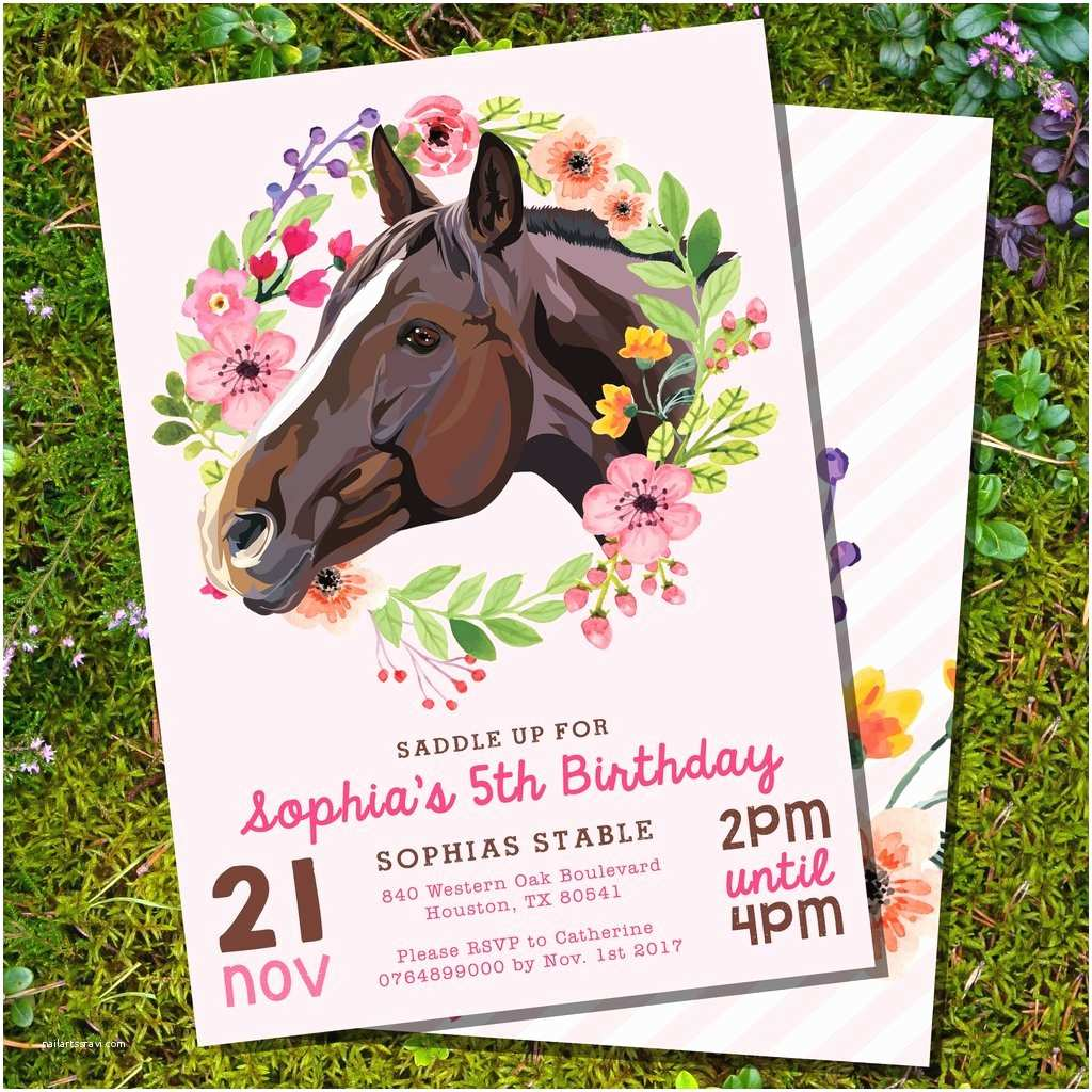 Horse Birthday Party Invitations Horse Birthday Party Invitation for A Girl