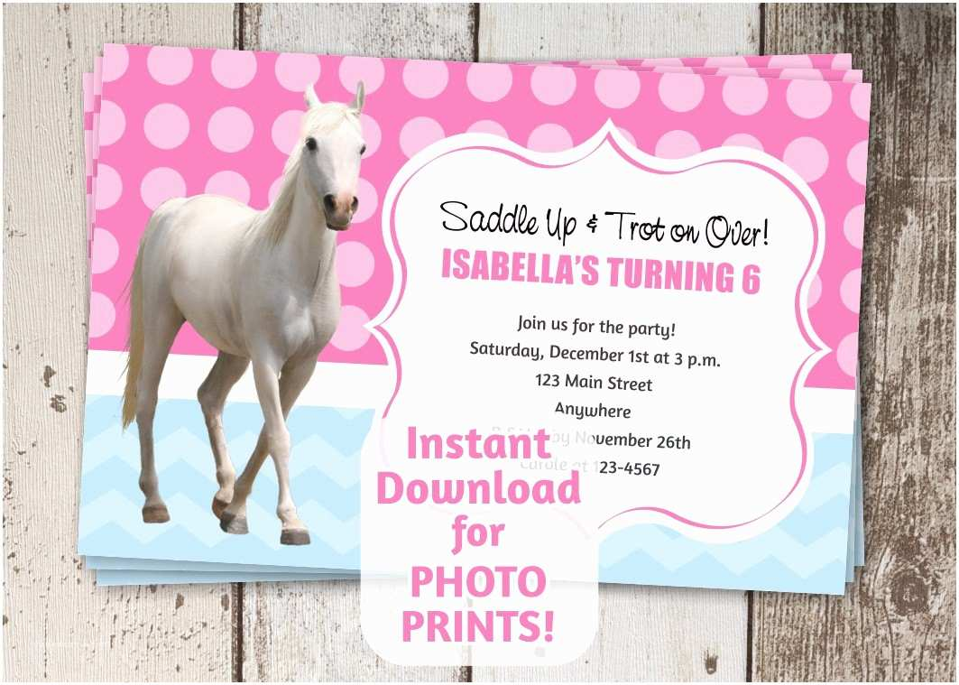 Horse Birthday Party Invitations Horse Birthday Party Invitation Instant Digital File