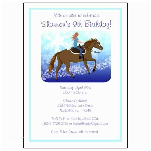 Horse Birthday Party Invitations Horse Birthday Party Invitations for Girls