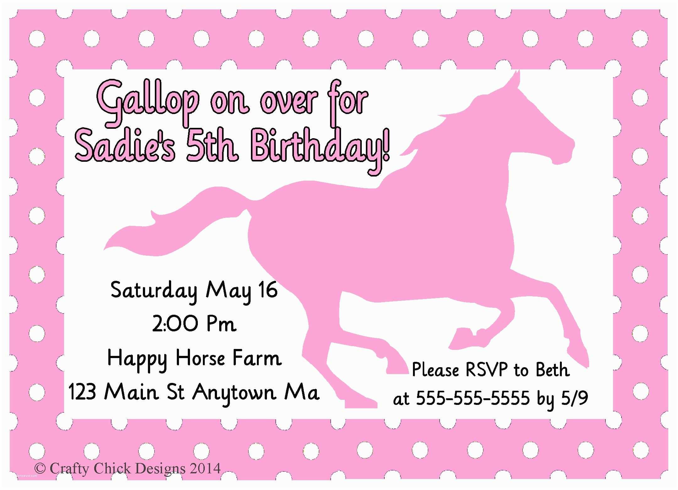 Horse Birthday Party Invitations Horse Polka Dot Birthday Party Invitations Light Pink