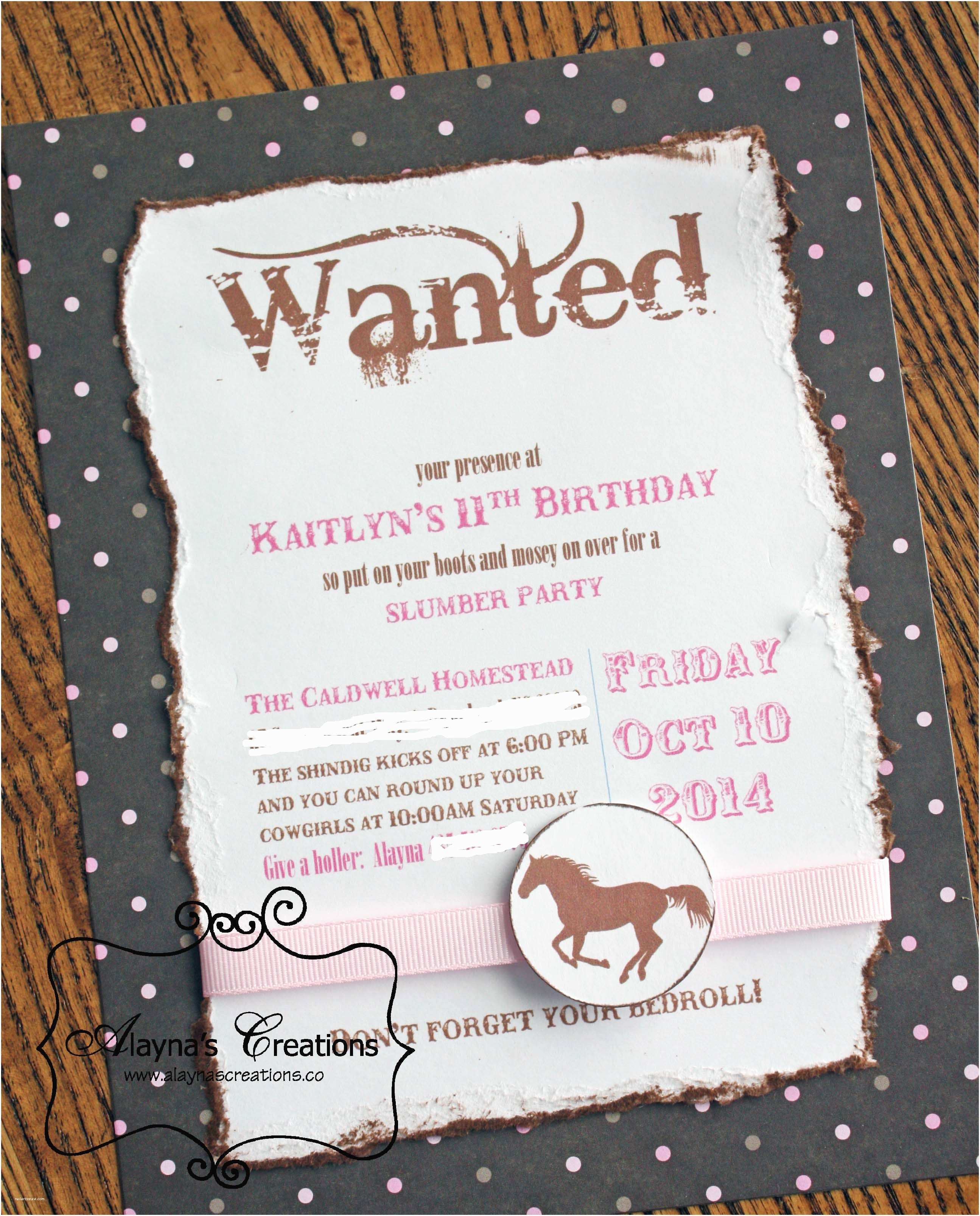 Horse Birthday Party Invitations Horse Slumber Party Diy Home Decor and Crafts