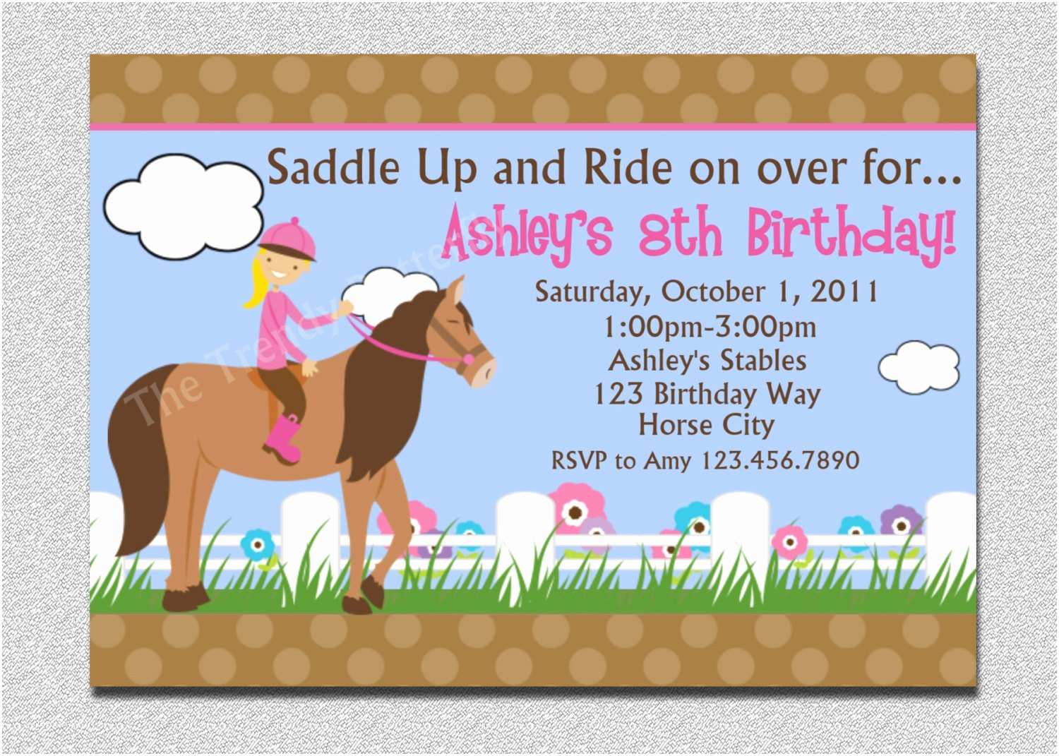 Horse Birthday Party Invitations Horseback Riding Birthday Invitation Western Horse Birthday
