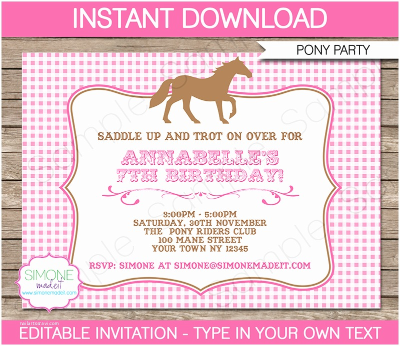 Horse Birthday  Invitations Pony  Invitations Horse