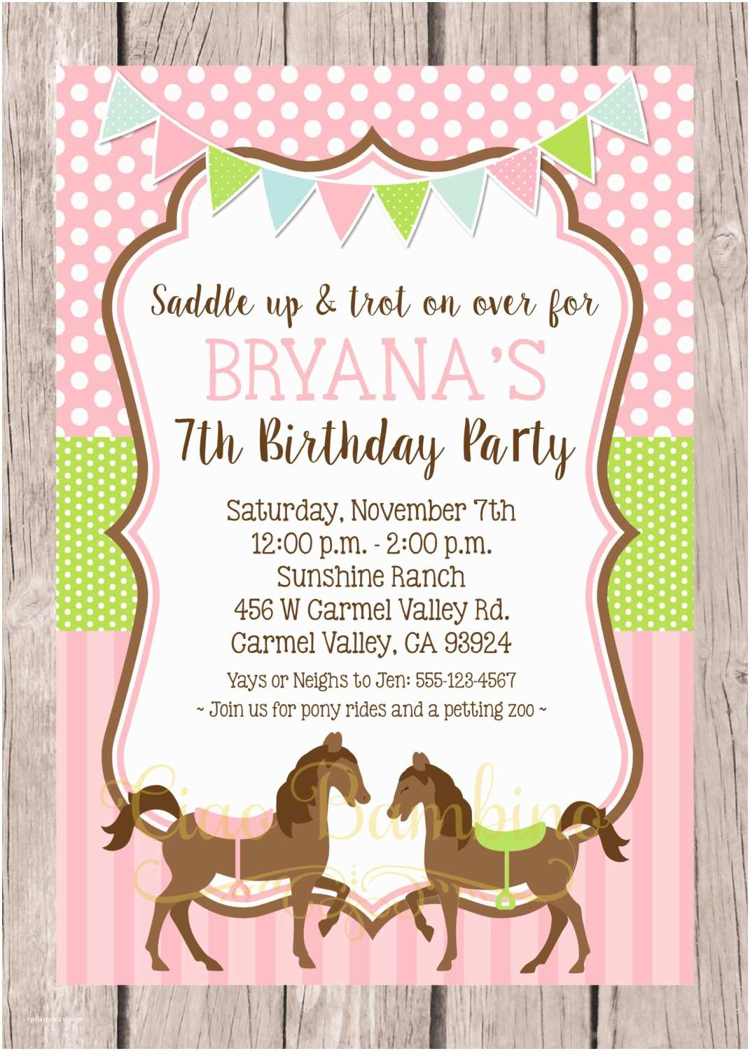 Horse Birthday Party Invitations Printable Horse Birthday Party Invitation Pony Invitation