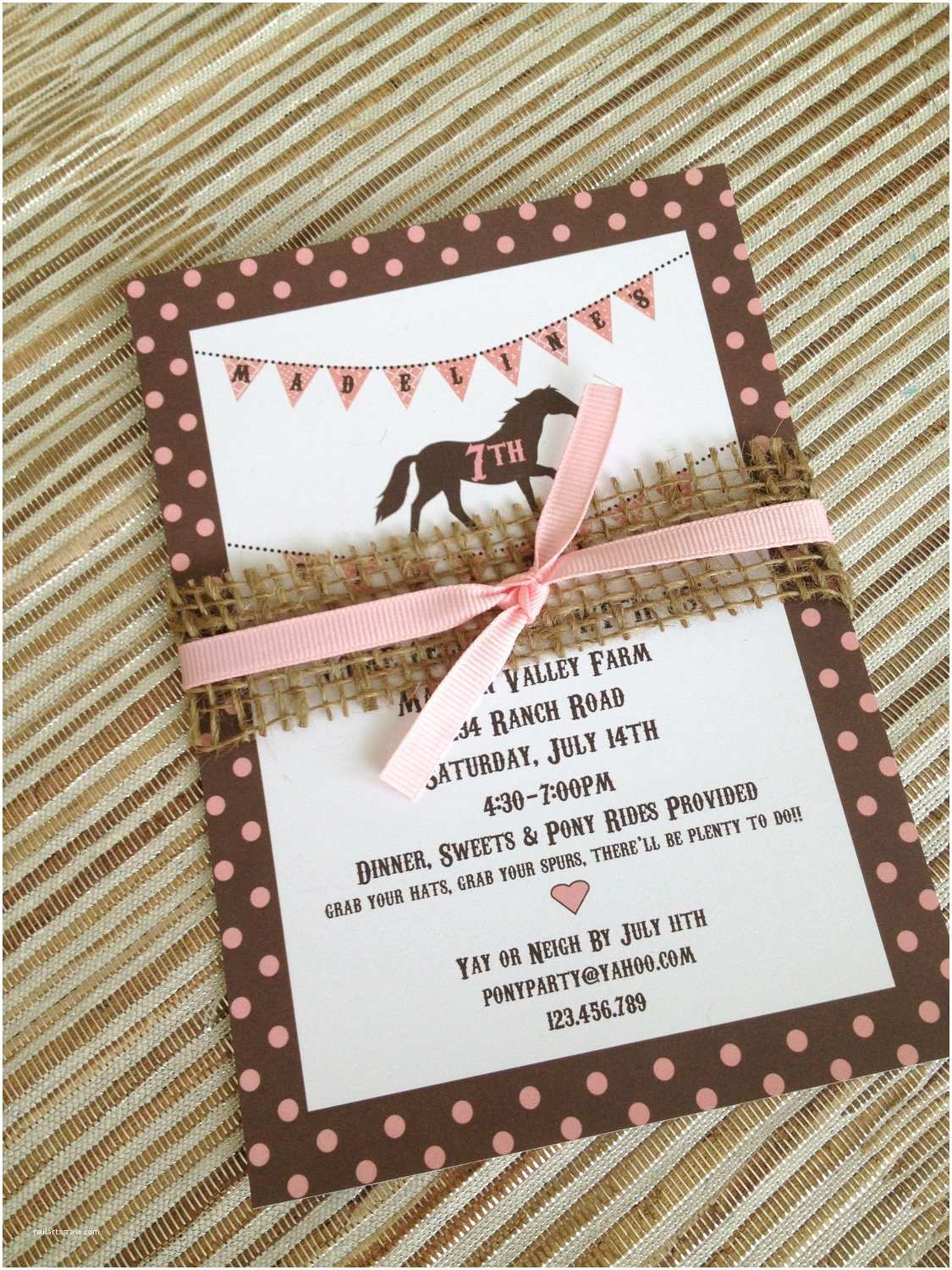 Horse Birthday Party Invitations Printable Pony Horse Birthday Party Invitation Vintage