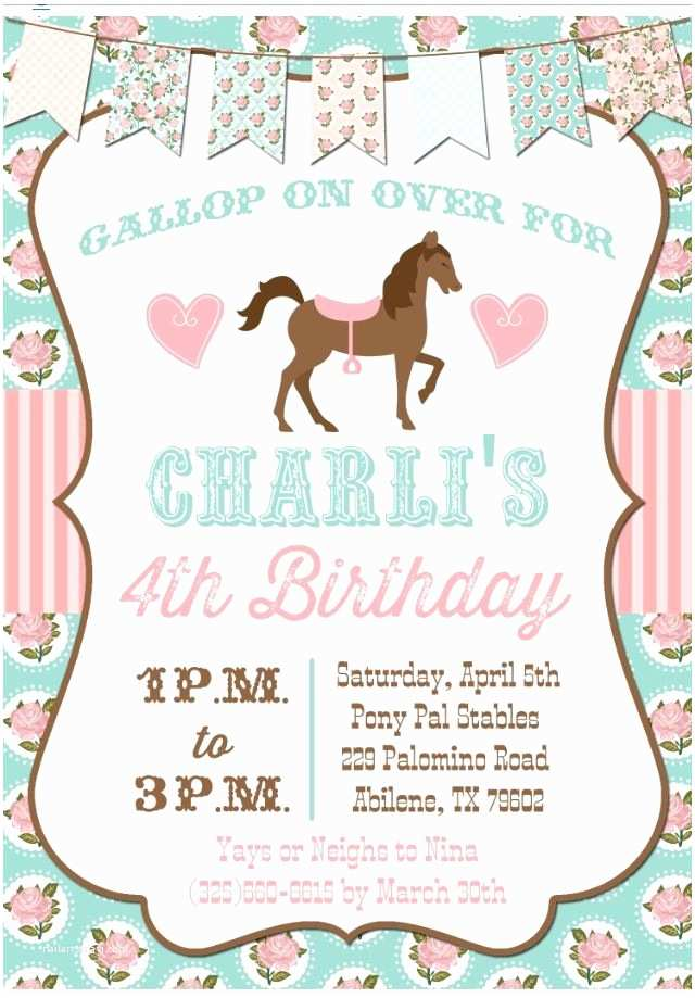 Horse Party Invitations 17 Best Ideas About Horse Birthday Parties On Pinterest