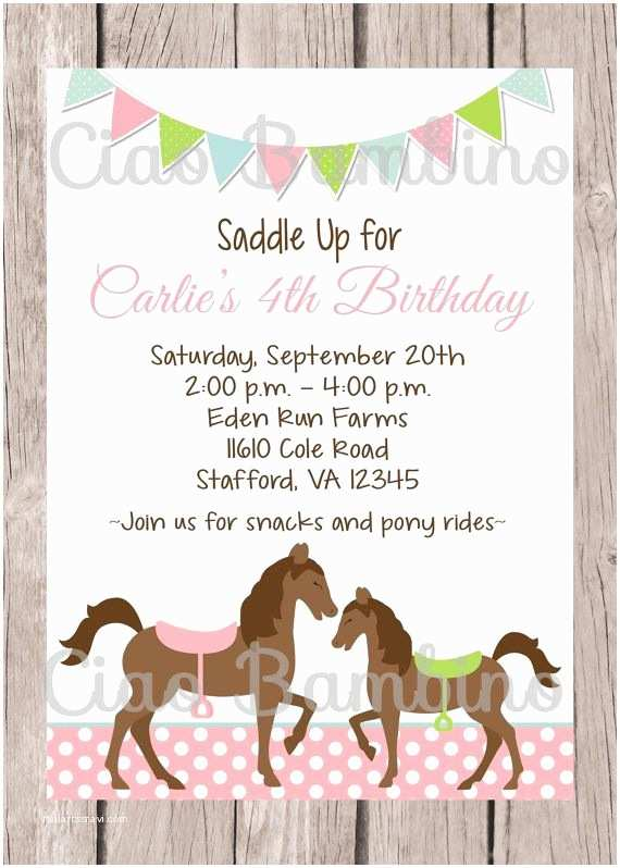 Horse Party Invitations 25 Best Ideas About Horse Birthday Parties On Pinterest
