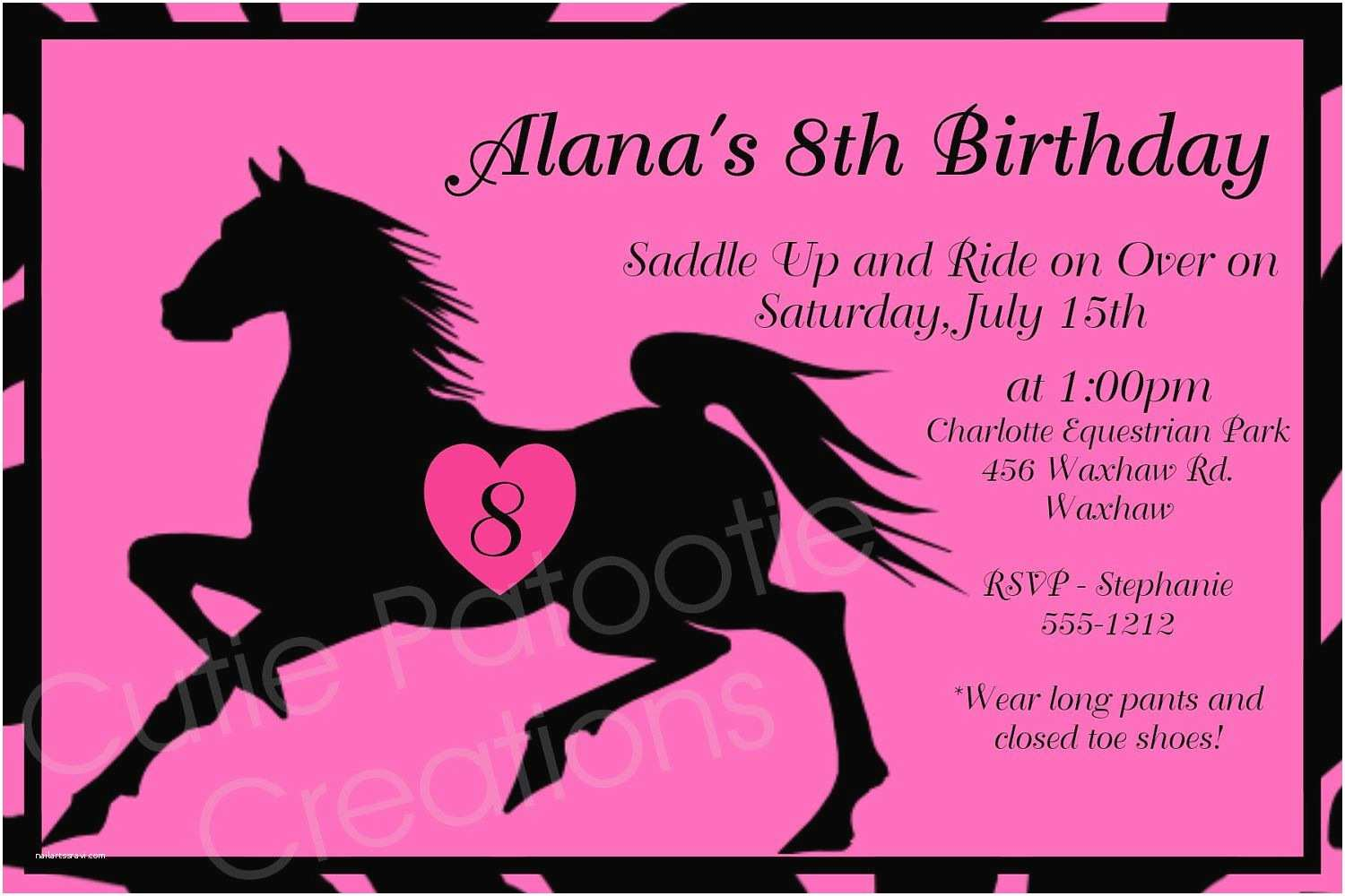 Horse Party Invitations Horseback Riding Birthday Invitation