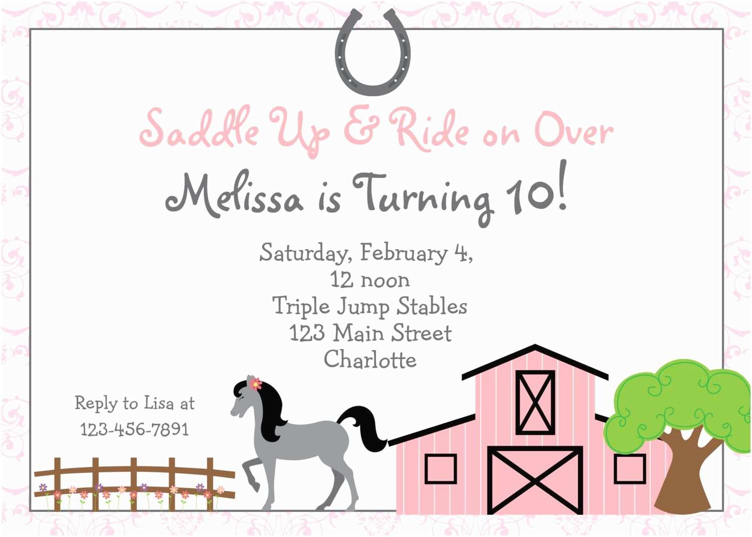 Horse Party Invitations Free Printable Horse Riding Party Invitations