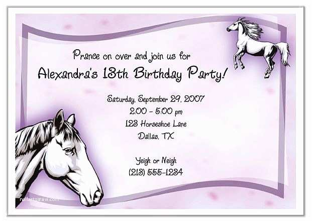 Horse Party Invitations Birthday 1 00 Each