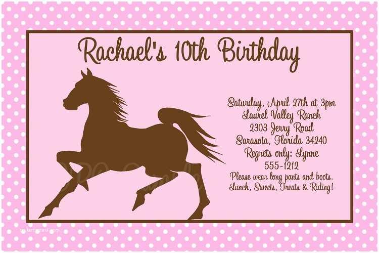 Horse Party Invitations Horse Birthday Party Invitations